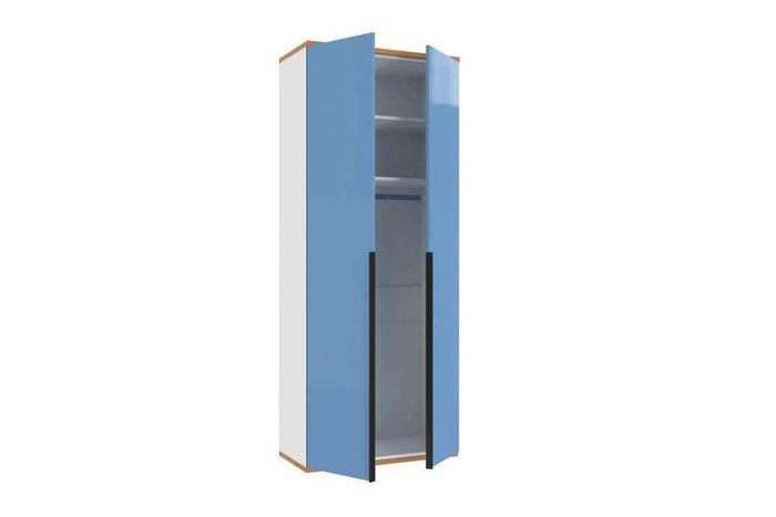 Шкаф двухстворчатый Урбан бело-синего цвета