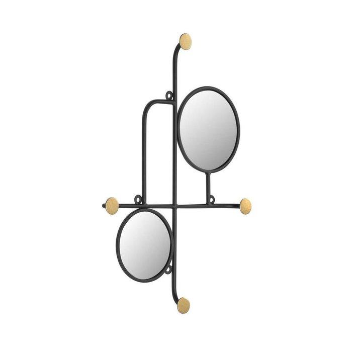 Настенное зеркало с вешалками Vianela черно-золотого цвета