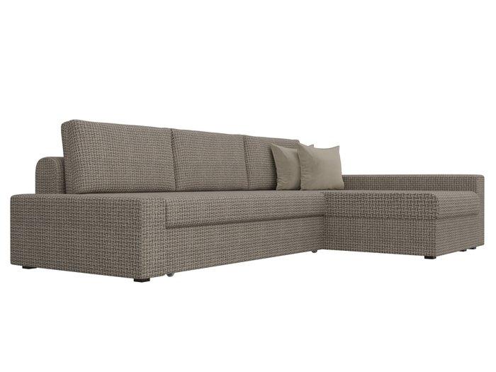 Угловой диван-кровать Версаль бежево-коричневого цвета