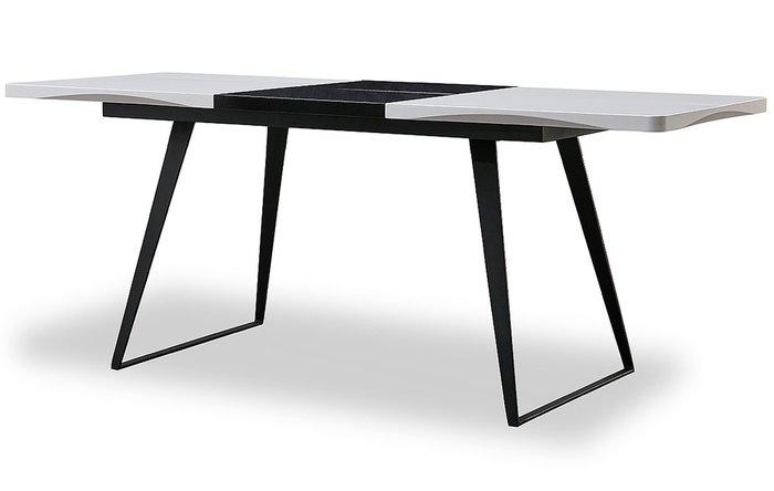 Обеденный раскладной стол с черно-белой столешницей
