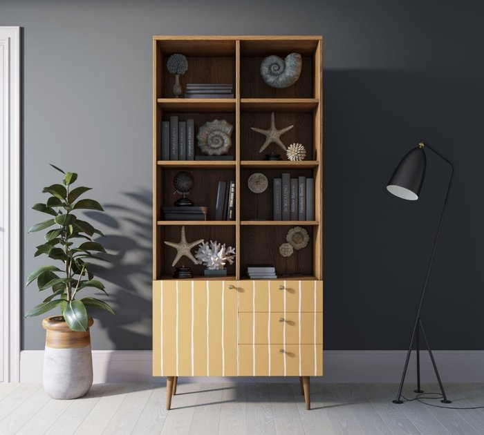 Книжный шкаф Berber бежево-желтого цвета