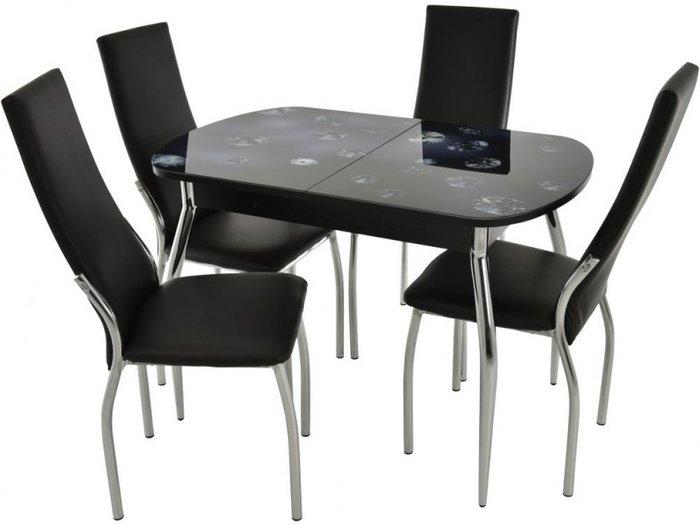Обеденная группа из столы и четырех стульев черного цвета