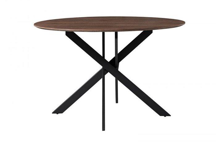 Обеденный круглый стол со столешницей цвета орех