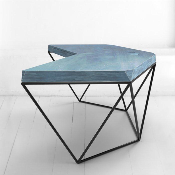 Рабочий стол Гексагон в синем цвете