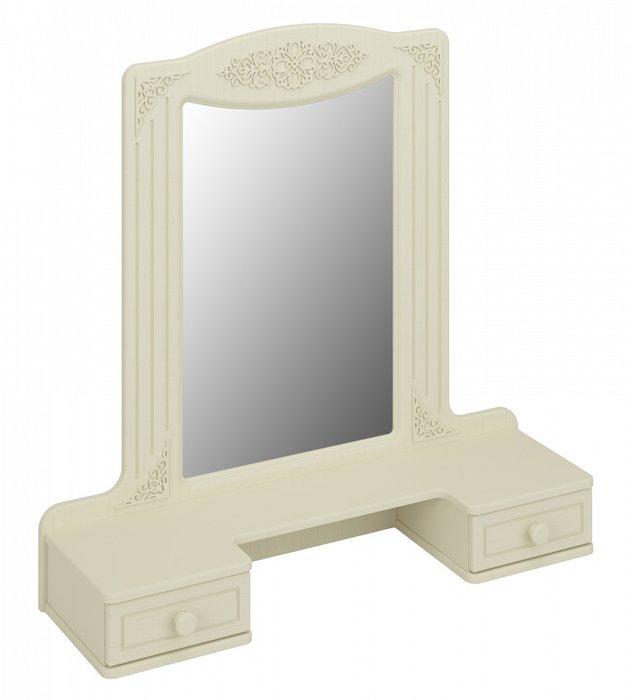 Настольное зеркало с полкой Ассоль бежевого цвета