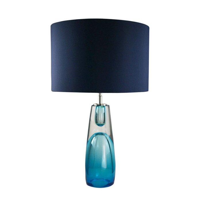 Настольная лампа с синим абажуром