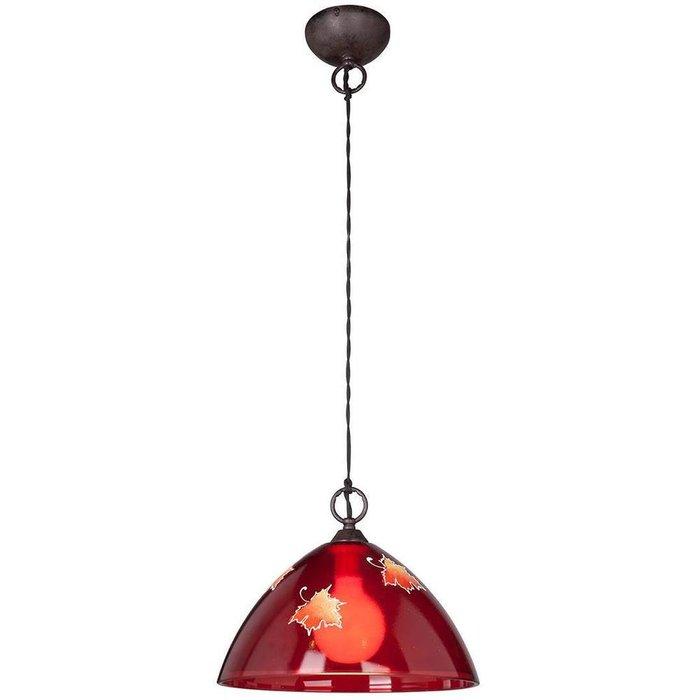 Подвесной светильник с плафоном из стекла красного цвета