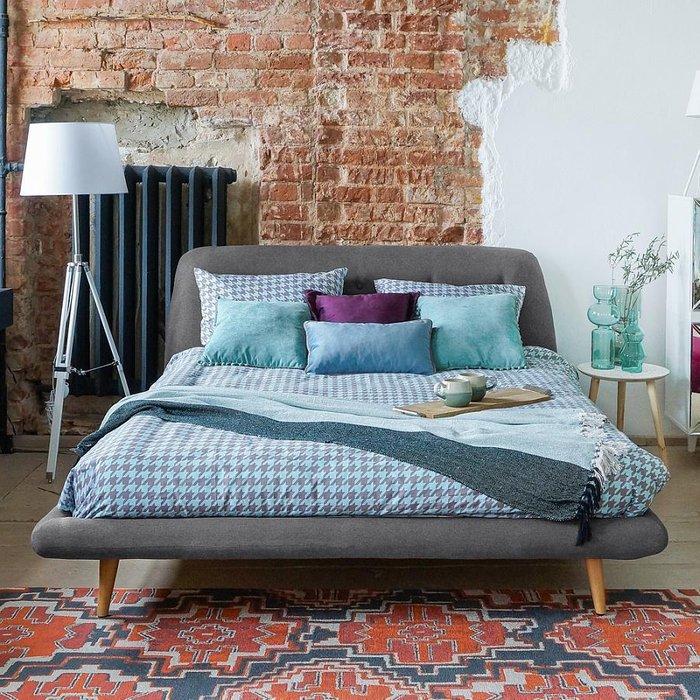 Кровать Loa синего цвета 160x200