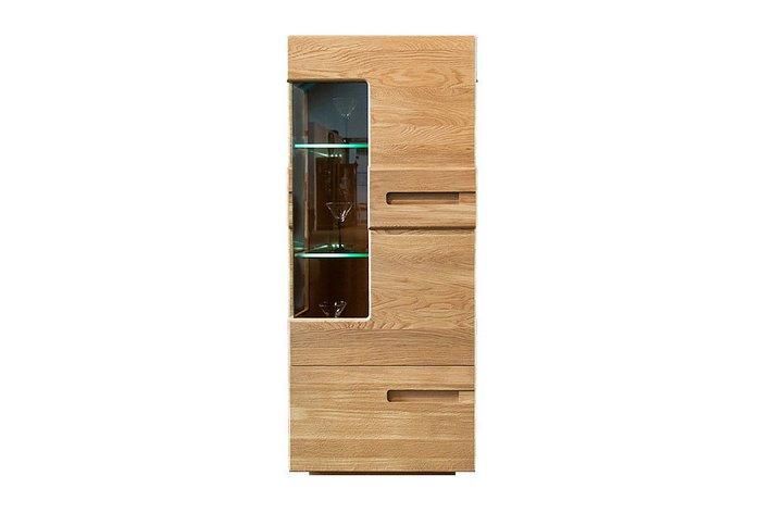Шкаф с витриной Хедмарк светло-коричневого цвета (левый)