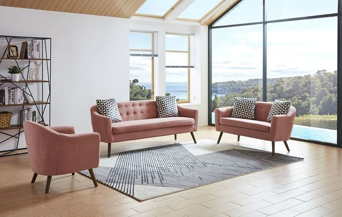 Прямой диван Florence M кораллового цвета