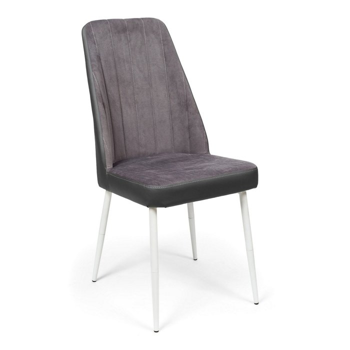 Кухонный стул Мокка Premium серого цвета с белыми ножками