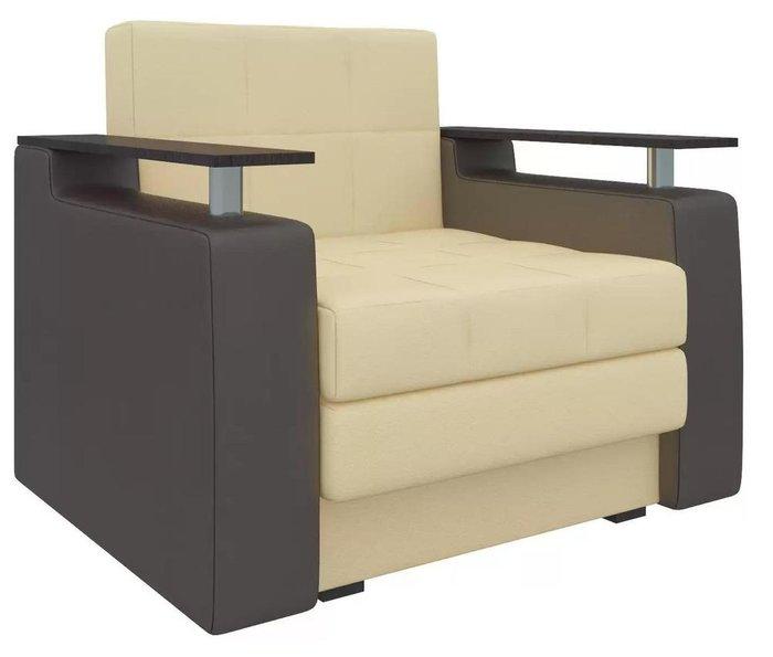 Кресло-кровать Мираж бежево-коричневого цвета (экокожа)