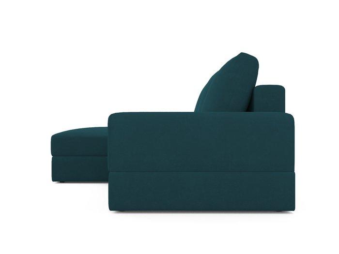 Угловой диван-кровать левый Elke сине-зеленого цвета