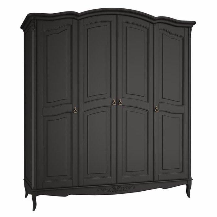 Шкаф четырехдверный Akrata черного цвета с эффектом старения