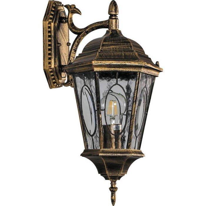 Уличный настенный светильник золотого цвета
