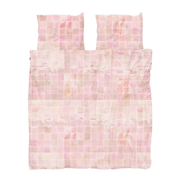 Комплект постельного белья Плитка кремово-розового цвета 200х220