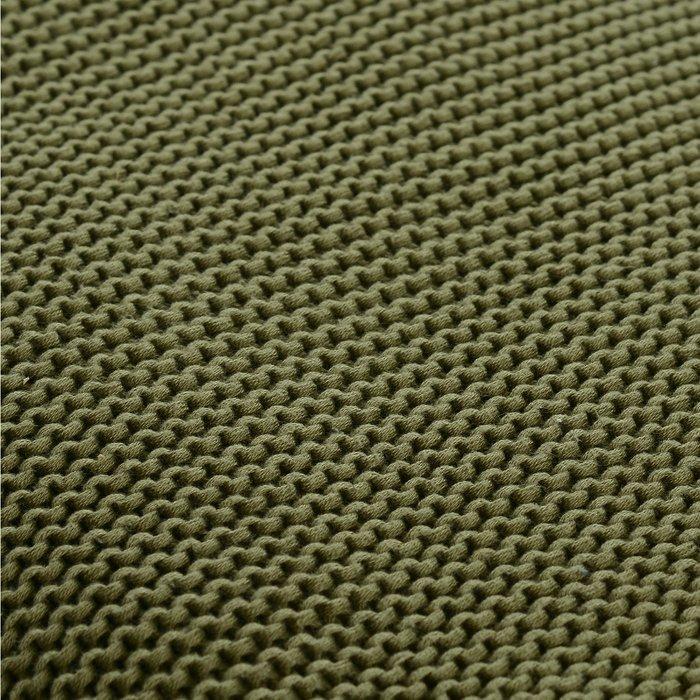 Плед Essential из хлопка жемчужной вязки оливкового цвета 130х180