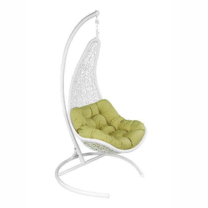 Кресло подвесное Wind бело-зеленого цвета