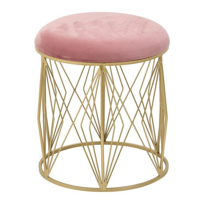 Пуф розового цвета на металлическом основании