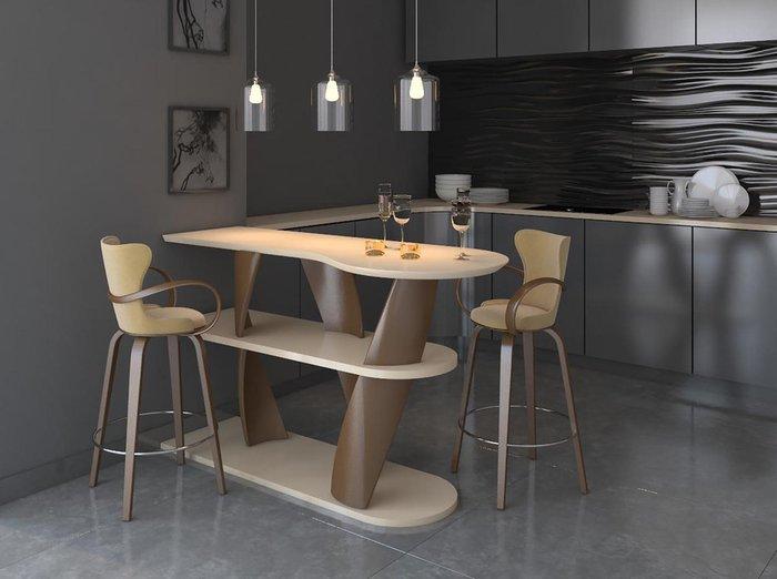 Барный стул Apriori S из натурального дерева и ткани