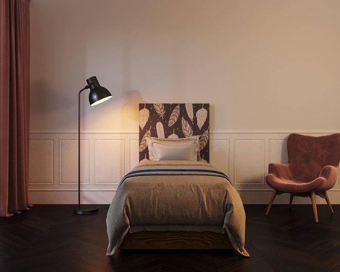 Кровать Berber 90х200 бежево-фиолетового цвета