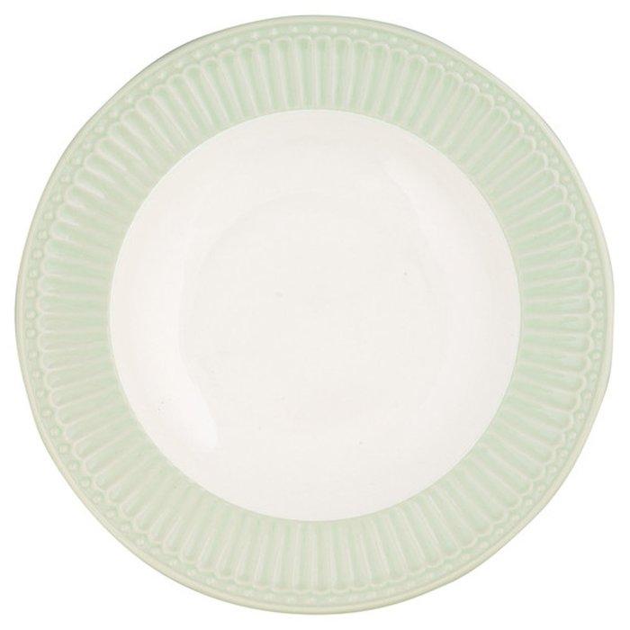 Глубокая тарелка Alice pale green из фарфора
