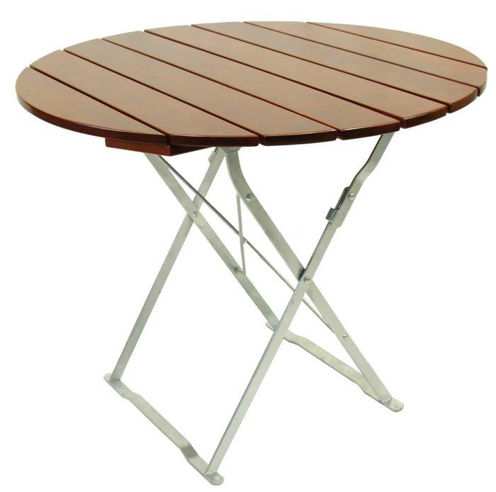Стол садовый со столешницей коричневого цвета