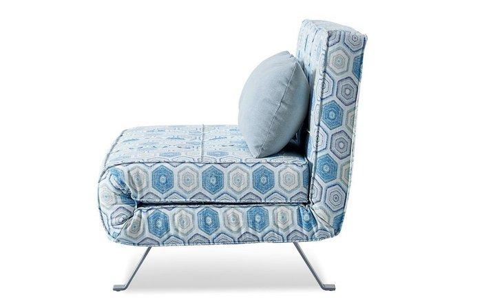 Диван-кровать Lilly с геометрическим принтом голубого цвета