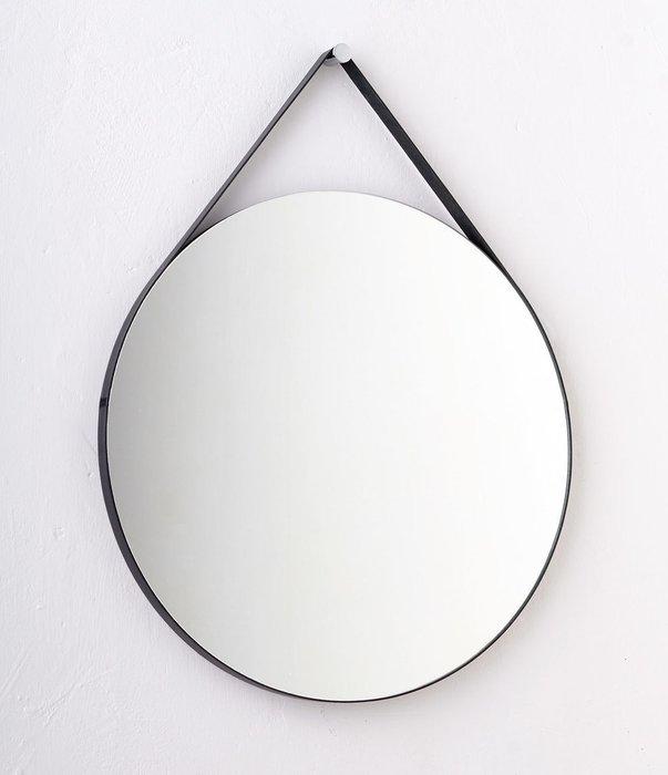 Круглое настенное зеркало диаметр 53 на ремне