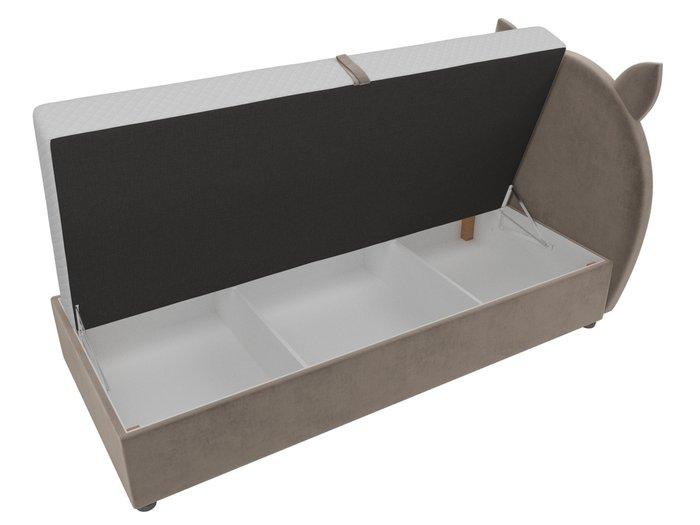 Детская кровать Бриони 82х188 коричневого цвета с подъемным механизмом