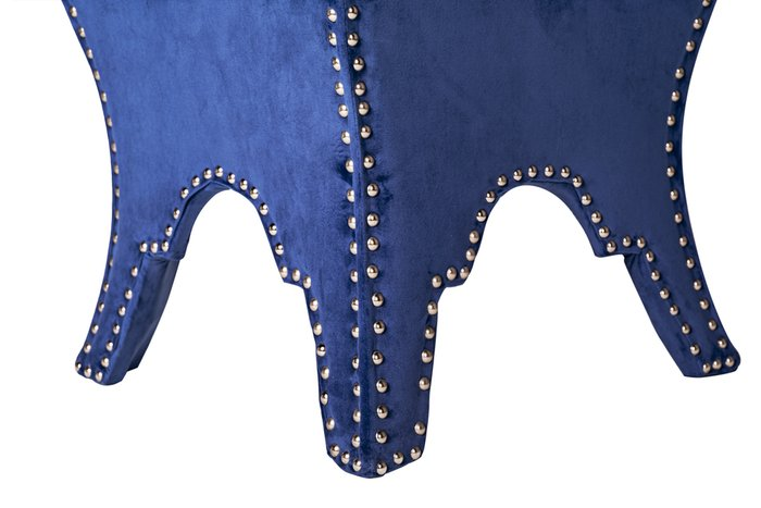 Банкетка с обивкой из велюра синего цвета
