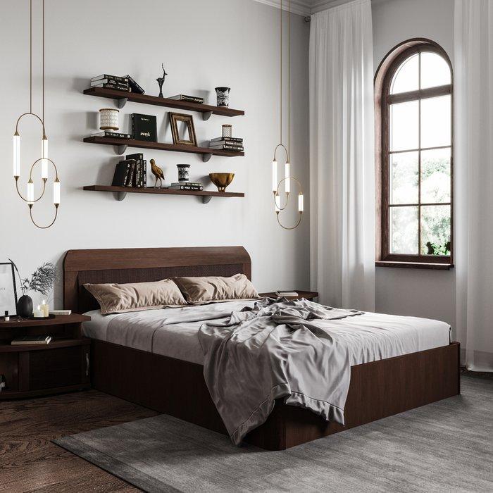 Кровать Магна 160х200 темно-коричневого цвета с подъемным механизмом