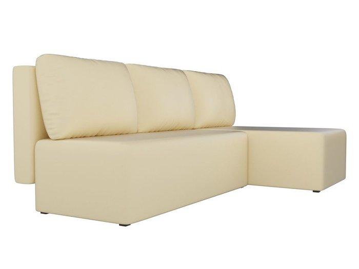 Угловой диван-кровать Поло бежевого цвета (экокожа)
