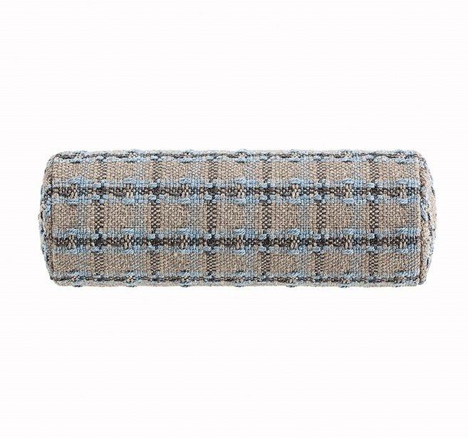 Маленькая подушка-рол Checks blue серо-голубого цвета