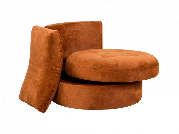 Кресло Wing Round коричнево-оранжевого цвета