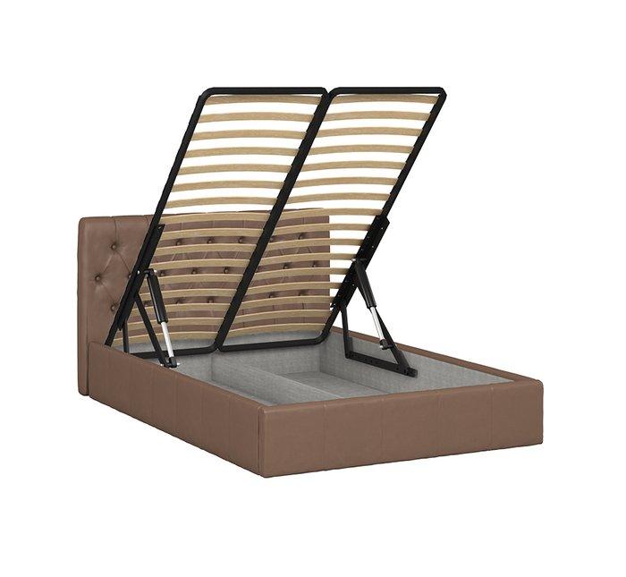 Кровать Инуа 140х200 коричневого цвета с подъемным механизмом