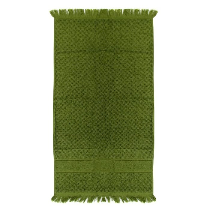 Полотенце для рук декоративное с бахромой оливково-зеленого цвета