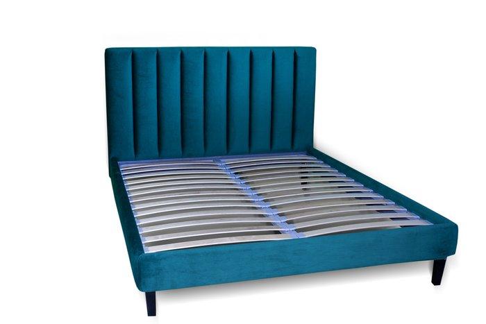 Кровать Клэр 160х200 синего цвета с ящиком для хранения