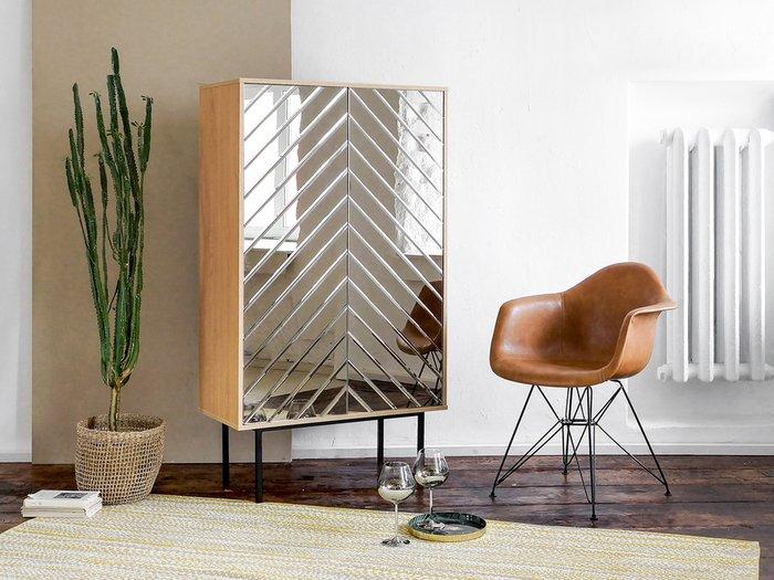Шкаф Boho с зеркальным фасадом золотого цвета