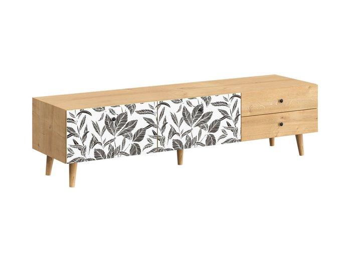 Тумба под TV Frida с черно-белым фасадом на деревянных ножках