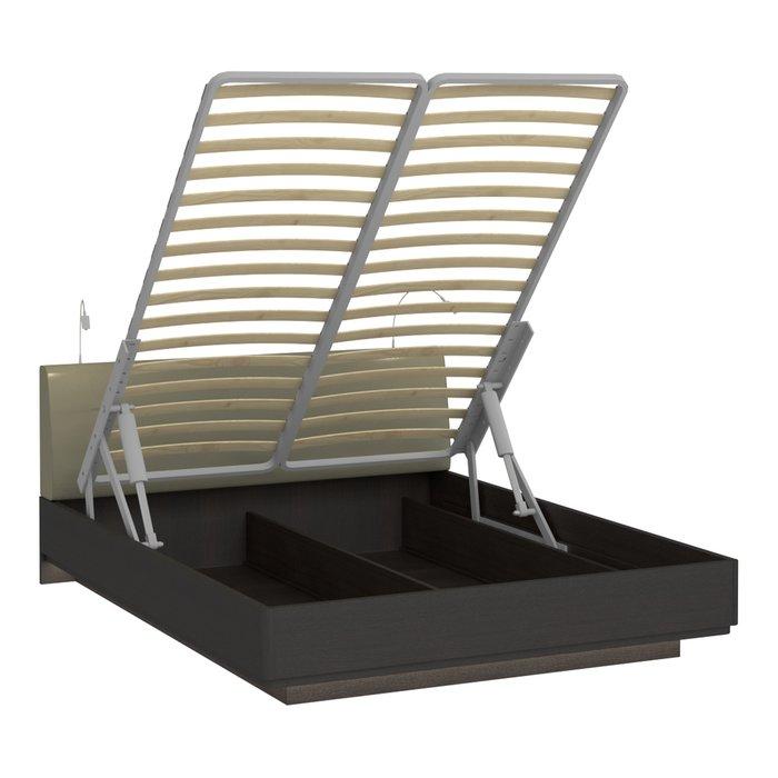 Кровать Элеонора 180х200 с изголовьем серо-бежевого цвета и двумя светильниками