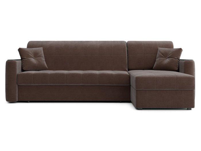 Угловой диван-кровать Ницца коричневого цвета