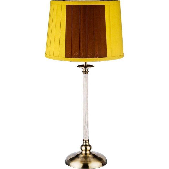 Настольная лампа с абажуром желто коричневого цвета