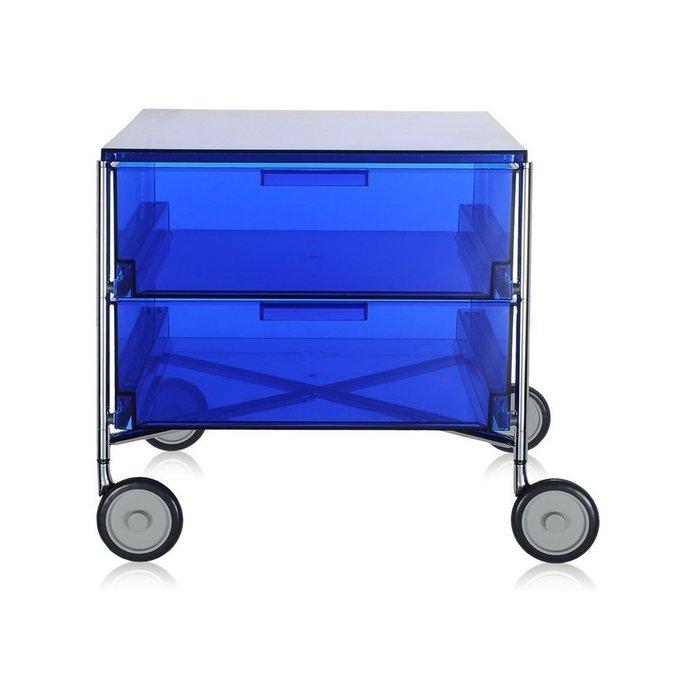 Контейнер Mobil на колесах синего цвета