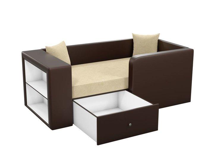 Детская кровать-диван Орнелла бежево-коричневого цвета (ткань/экокожа)