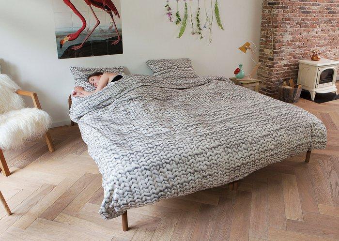 """Комплект постельного белья """"Косичка"""" серый 200х220 фланель"""
