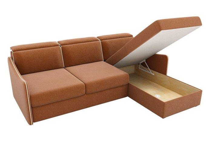Угловой диван-кровать Скарлетт коричневого цвета