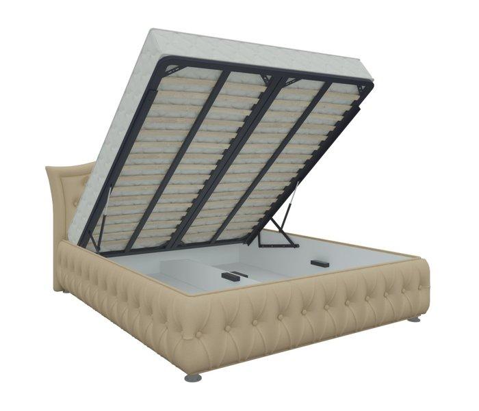 Кровать Герда 160х200 бежевого цвета с подъемным механизмом (экокожа)