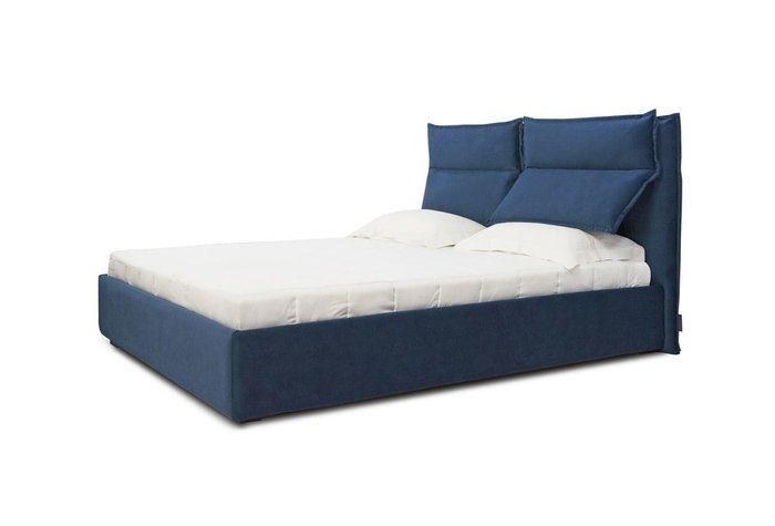 Кровать Wing 140х200 темно-синего цвета