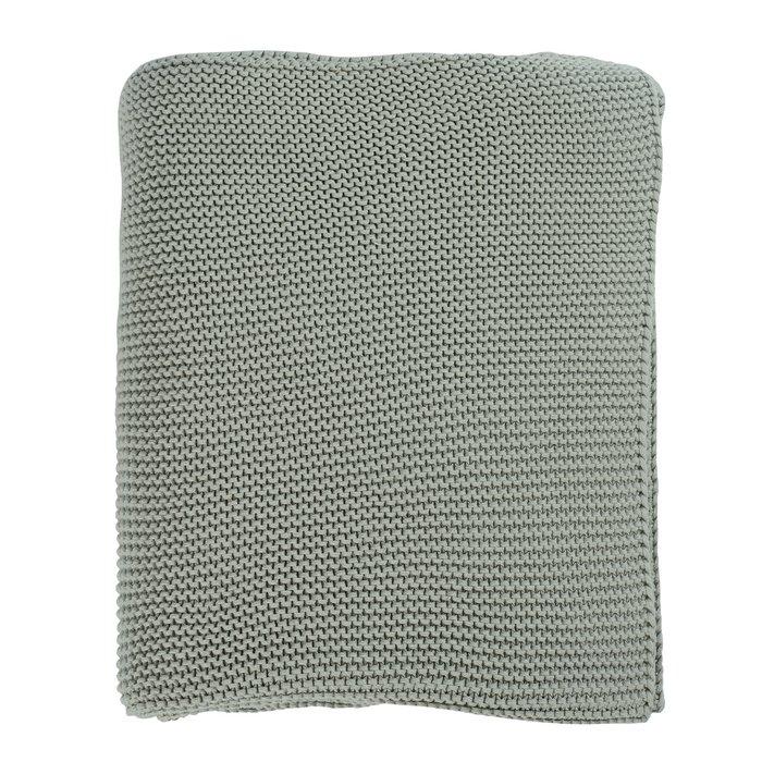 Плед Essential из хлопка жемчужной вязки мятного цвета 130х180